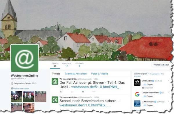 Westönnen Online jetzt auch bei Twitter und Facebook