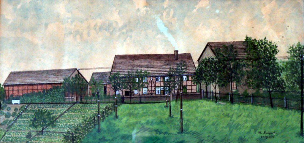 Der Hof Böhmer, Walbkestrasse, Ansicht von der Breiten Strasse. Gemalt 1928